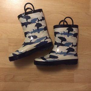 New Shark Rain Boots, Size 3 Little Boy
